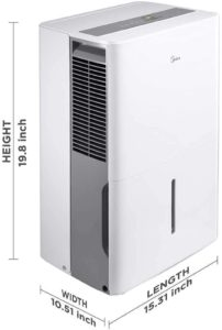 Midea 1,500 Sq. Ft. Energy Star Certified Dehumidifier with Reusable Air Filter 22 Pint 2019 DOE (Previously 30 Pint) - Ideal For Basements